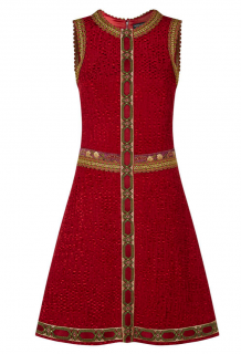 Dolce & Gabbana Red & Gold Embroidered Sleeveless Runway Dress