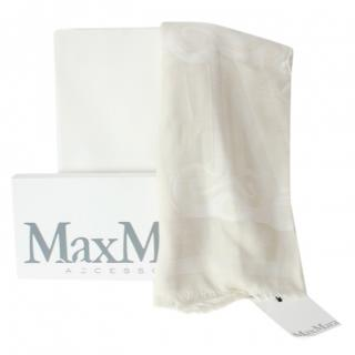 Max Mara Cream  Wool & Silk Scarf