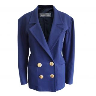 Yves Saint Laurent Blue Suede Tailored Wool Jacket