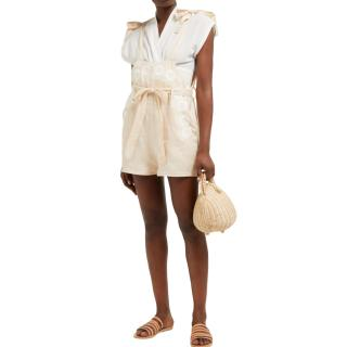 Innika Choo Beige Floral Embroidered Linen Playsuit