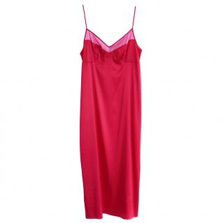 Parasol Rose Red & Pink Silk Grace Slip Dress
