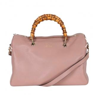 Gucci Leather Rose Pink Bamboo Boston Bag