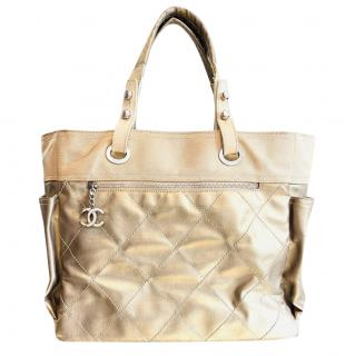 Chanel Paris/Biarritz Beige Quilted Tote Bag