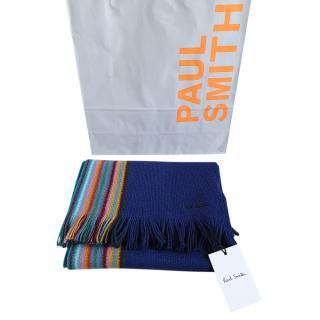 Paul Smith Rainbow Stripe two-tone Wool Scarf