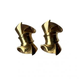 Givenchy Gold Tone Bow Earrings