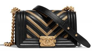 Chanel Black & Gold Woven Chevron Boy Bag