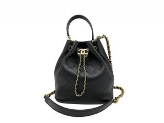 Chanel Black Stitch Quilt Drawstring Bucket Bag