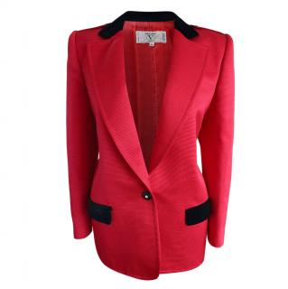Valentino Red Ribbed Tuxedo Jacket with Contrast Details