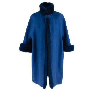 Ermanno Scervino Blue Mink Trimmed Linen Coat