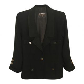Chanel Black Tweed Vintage Longline Jacket