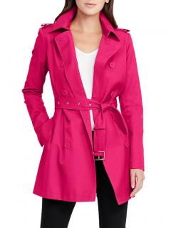 Lauren Ralph Lauren Pink Double Breasted Cotton Trench