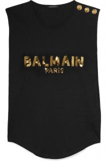 Balmain/Net-a Porter black vest top