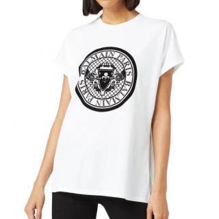 Balmain Flocked Coin Black & White T-Shirt