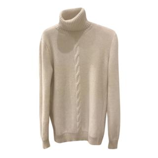 Loro Piana Ivory Cable Knit Baby Cashmere Jumper
