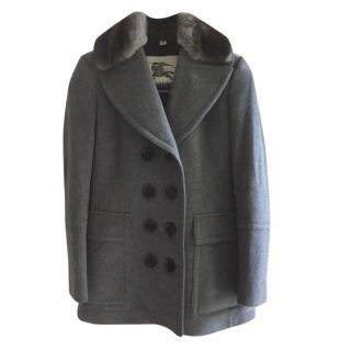 Burberry Grey Wool Coat with Rabbit Fur Collar