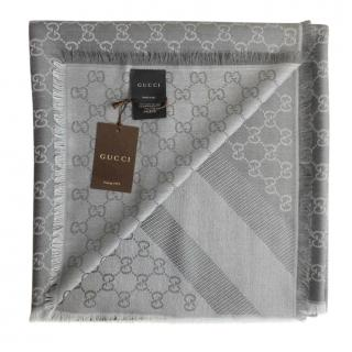 Gucci Grey Monogram Wool & Silk Scarf