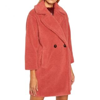 Marella pink double breasted teddy coat