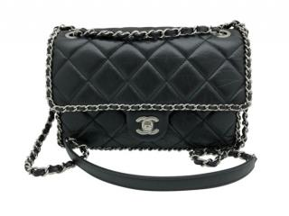 Chanel Black Leather Quilted Chain Trim Flap Bag