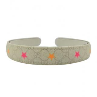 Gucci Grey Monogram Hairband with Neon Star Print