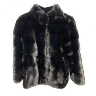 Saga black mink silk lined jacket