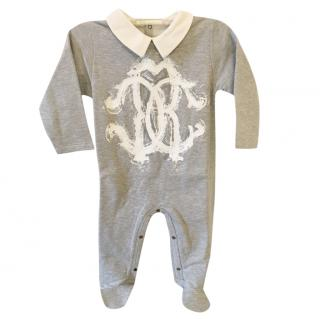 Roberto Cavalli grey fleece monogram baby grow