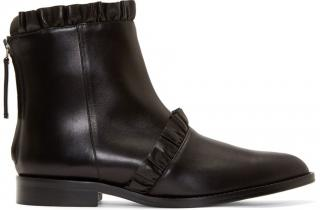 Christopher Kane Black Leather Frilled Ankle Boots