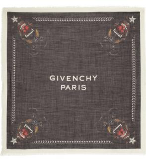 Givenchy Black Silk & Wool Rottweiler Scarf