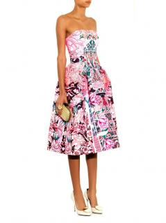 Mary Katrantzou Calligraphy Print Pink Strapless Dress