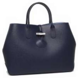 Longchamp Navy Leather Roseau Tote Bag medium