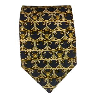 Gianni Versace Black & Gold Silk Tie
