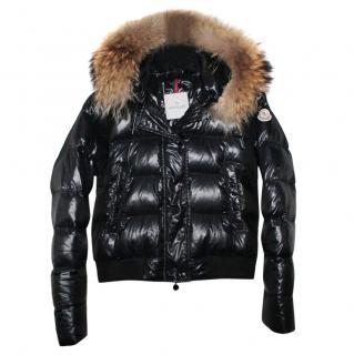 Moncler Black Alpes Fur Trim Down Puffer Coat
