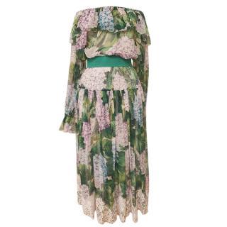 Dolce & Gabbana Hydrangea Print Off Shoulder Chiffon Top