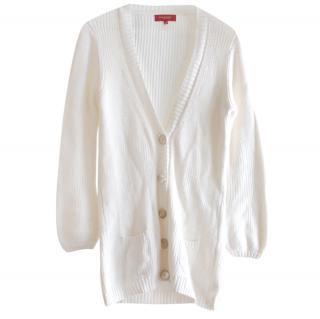 Burberry White Cotton Knit Lightweight Cardigan