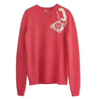 Miu Miu Pink Crystal Embellished Telephone Jumper