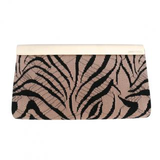 Jimmy Choo Suede Zebra Print Lace Embroidered Cayla Clutch