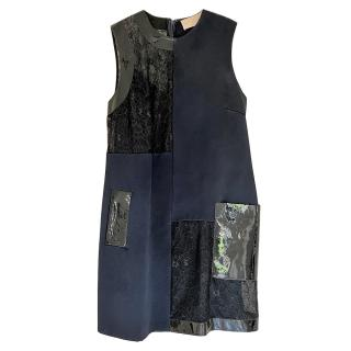 Christopher Kane Colour Block Lace & Leather Panelled Sleeveless Dress