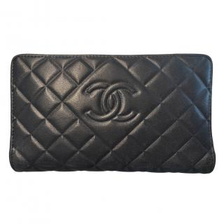 Chanel Navy Quilted Leather Bi-Fold Long Wallet