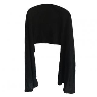 Chanel Black Cashmere Embroidered Shawl