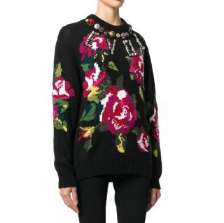 Dolce & Gabbana Floral Embroidered Wool Blend Embellished Jumper