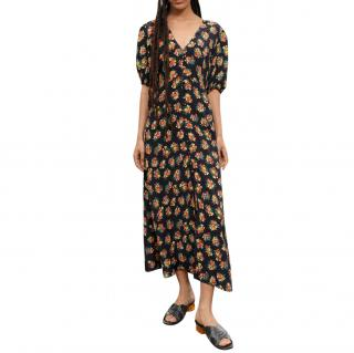Rixo Staci Garden Ditsy Black Midaxi Dress