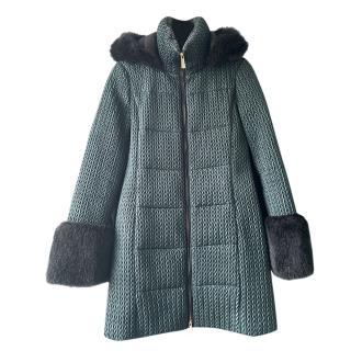 MaxMara Intrend Sage Green Faux Fur Trim Textured Coat