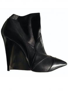 Casadei Black Leather Wedge Ankle Boots
