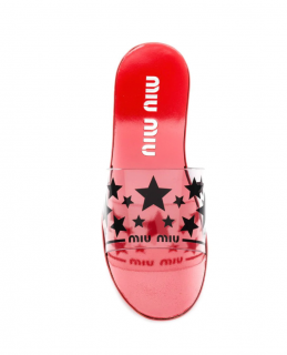 Miu Miu Red PVC Star Print Slides