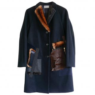 Kolor Navy Wool Blend Panelled Coat