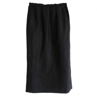 Raey Linen Blend Black Midi Skirt