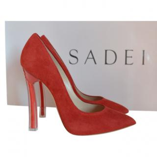 Casadei Red Suede Blade Pumps