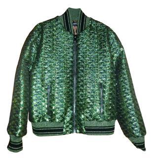 Dolce & Gabbana Metallic Green Jacquard Bomber