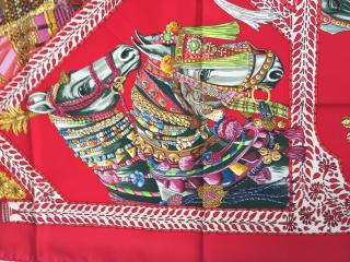 Hermes Red La Danse Du Cheval Marwari Silk Scarf 90