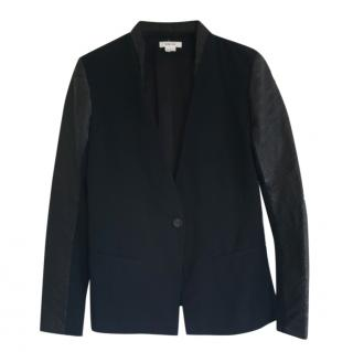 Helmut Lang Wool Blend Leather Trim Jacket