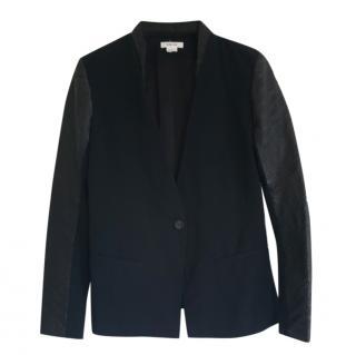 Helmut Lang Wool Blend Leather Trim Jacket